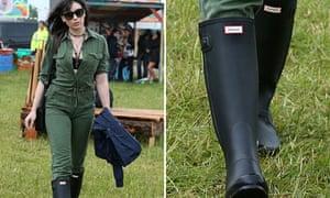 Daisy Lowe wearing monogrammed wellies.