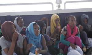 Teenage girls, possibly from Eritrea, who were rescued by the Pheonix off the coast of Libya.