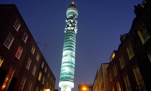 The BT Tower lit up at night