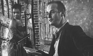 Lawrence Ferlinghetti at a poetry reading.