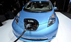 The Nissan Leaf electric vehicle.
