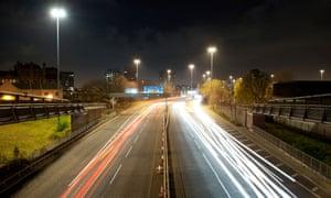 The A57(M) Manunian Way near Hulme, Manchester.
