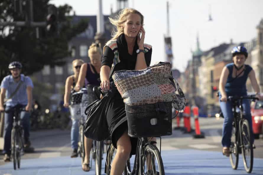 Cycling in Copenhagen. In Denmark, women make up 55% of cyclists.