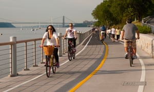 Cycling along the Hudson River.