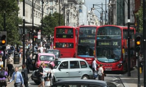 Buses and taxis fill Oxford Street on July 9, 2014 in London, England. Researchers from King's College London have found that concentrations of nitrogen dioxide in Oxford Street are the worst on earth.
