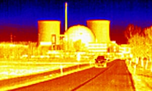 A thermal image Biblis nuclear power plant in southwest Germany which was closed in 2011 following the Fukushima disaster in Japan.