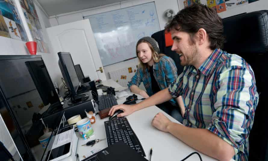 Hazel Mckendrick and Sean Murray build worlds at the Hello Games studio in Guildford.