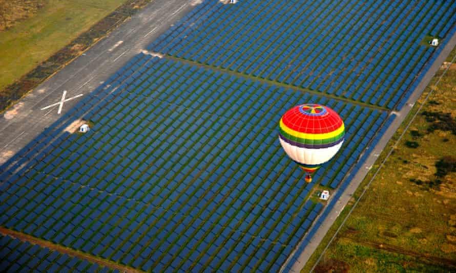 Juwi Solarpark, a 40MW solar power plant near Brandis in Germany.