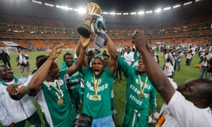 Nigeria celebrate their Africa Cup of Nations triumph in 2013 after beating Burkina Faso in the final under the guidance of Stephen Keshi.