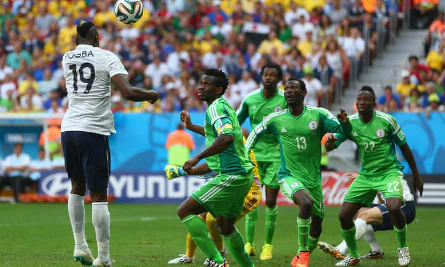 Paul Pogba heads France's first goal in their 2-0 defeat of Nigeria in the last 16 of the 2014 World Cup in Brazil.
