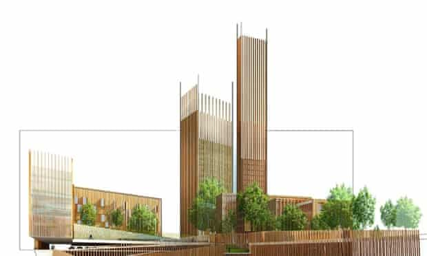 A render of the wooden structures planned for the Baobab development in Paris.