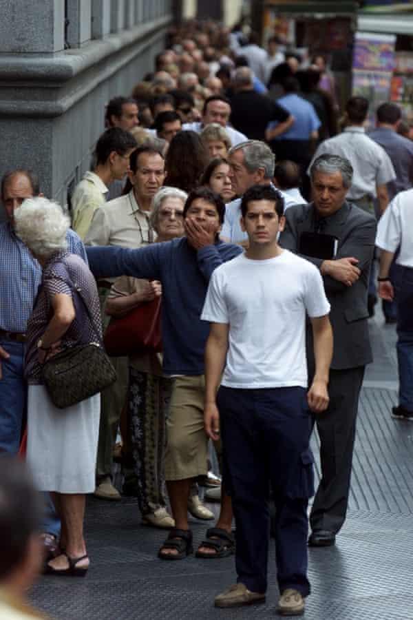 People queueing.