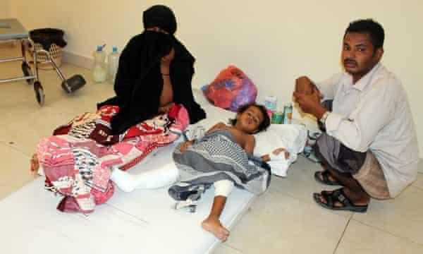 A child rests on a mattress in Aden's Sadaka hospital in Aden.