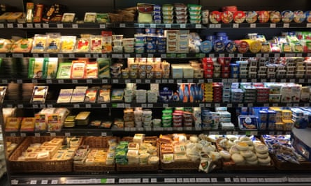 The cheese section at the Perekrestok store in Moscow's Afimall shopping centre.