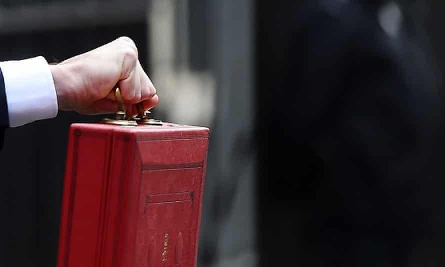 Osborne holding budget briefcase
