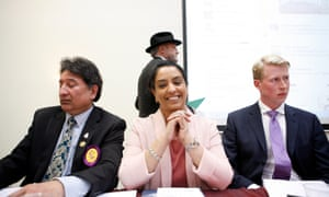 Naz Shah, photographed in April before defeating the Respect politician by more than 11,000 votes. In her maiden speech she thanked George Grant, her Conservative opponent, (right).