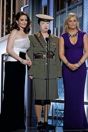 Poehler at this year's Golden Globes, with best friend Tina Fey, and Margaret Cho as a North Korean general.