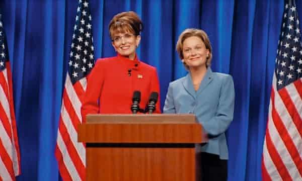 On Saturday Night Live with Tina Fey as Sarah Palin.