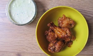 The Joy of Cooking's buffalo wings with blue-cheese sauce.