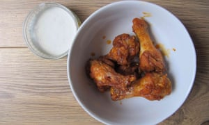 Cook's Illustrated's buffalo wings with blue-cheese sauce.