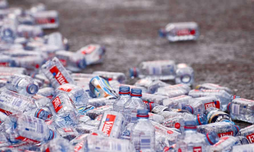 Discarded mineral water bottles after the London Marathon