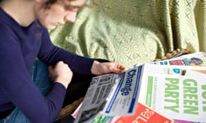 A student studies political literature as part of their general studies A-level.
