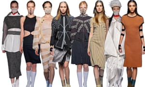 A row of eight models showing Masha Ma's designs for spring/summer and autumn/winter 2015.