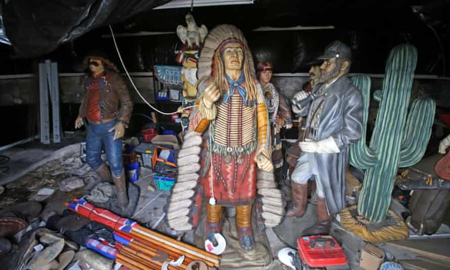Today the barn is being used to store a number of life-size figures of cowboys and Indians, from a travelling wild west show.