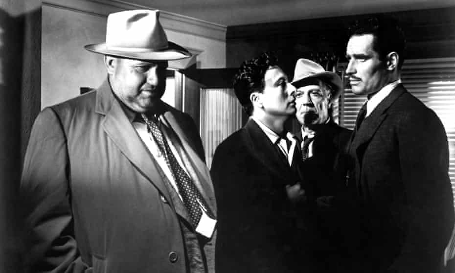 Orson Welles, Joseph Calleia, Victor Millan and Charlton Heston in Touch of Evil.