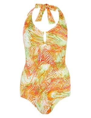 Printed swimsuit, £35, M&S.