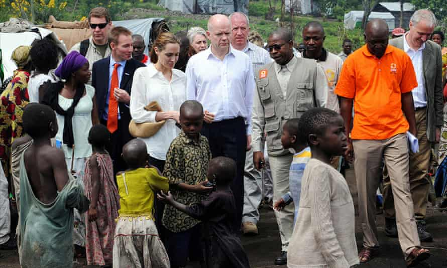 British politician William Hague with actress and UNHCR Special Envoy Angelina Jolie in the Democratic Republic of Congo.