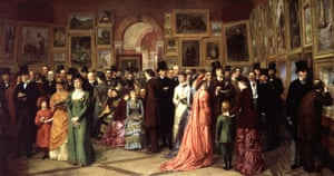 Detail from <em>A Private View at the Royal Academy</em> by William Powell Frith, 1881 – Wilde, front right, has a book in his hand.