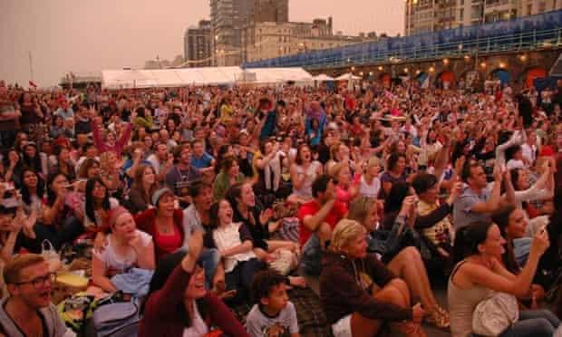 People watching a movie Brighton Big Screen