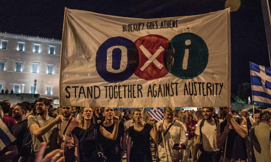 'Oxi' or 'No' supporters in Syntagma Square Athens while celebrating the rejection of the country's bailout deal.on 5 July.