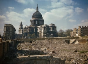 View of St Paul's Cathedral and the bomb damaged areas surrounding it in London
