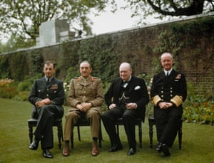 The Prime Minister with his Chiefs of Staff in the garden of 10 Downing Street, London, May 1945. Left to right: Air Chief Marshal Sir Charles Portal, Field Marshal Sir Alan Brooke, Winston Churchill and Admiral Sir Andrew Cunningham