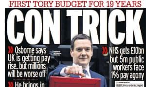 The Mirror denounces the budget as a 'con trick'