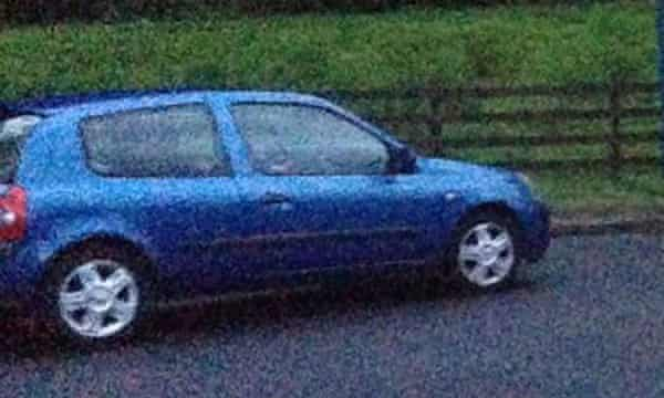 The blue Renault Clio in which John Yuill and Lamara Bell were last seen.