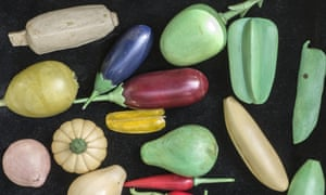 Ivory models of fruit and vegetables