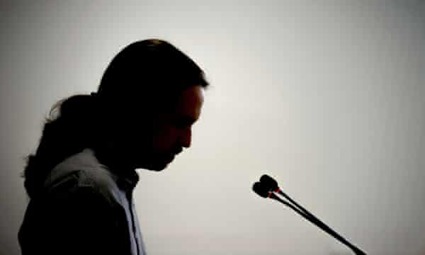 The pony-tailed one … Pablo Iglesias in action