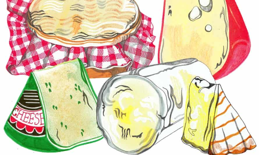 An illustration of some cheeses on cheesecloth.