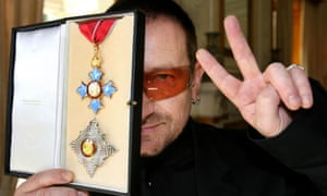 Bono received an honorary knighthood in recognition of his humanitarian work.