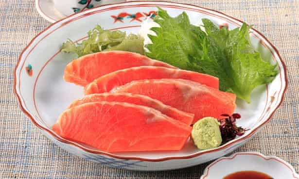 Cold fish … ruibe is  is half-frozen sashimi, usually wild salmon, hauled from Hokkaido's cold waters.