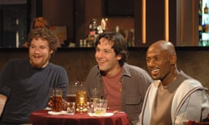 With Seth Rogen and Romany Malco in The 40-Year-Old Virgin.