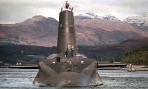 A photo of the Royal Navy's 16,000 ton Trident-class nuclear submarine Vanguard.