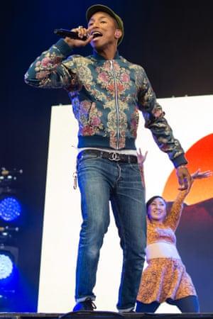 Pharrell Williams at Isle of Wight Festival.