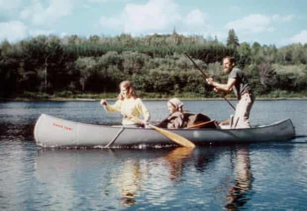 John McPhee with his daughters in Ontario, 1978.