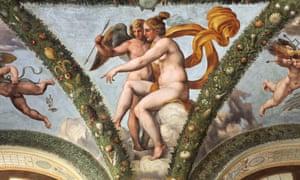 EJDAC4 Venus and Cupid. Fresco by Raphael and his workshop at the Loggia of Psyche in the Villa Farnesina in Rome, Italy.[VillaFarnesina]Raphael[VenusandCupid]VillaFarnesinaRomeRenaissanceLoggiaofPsycheLoggiadiPsicheRaphaelRaffaelloSanzioVenusAphroditegoddessnudenakedfemalewomanyoungarrowworkshopbottegaCupidPsycheceilingvaultedvault15171518GiulioRomanoRaffaellinodelColleHighRenaissanceRomamuseumRomanLazioItalyItalianEuropeEuropeanobjectcultureculturalhistoryhistoricalheritageinsideindoorinteriorpaintingfrescofrescosmuralpaintingmuralswallpaintingsvisualartsartvillaresidencehousedetailroomhalldecorationdecordecoratedpatternpaintedarchitecturearchitecturalpainterstyleFarneseAgostinoChigi1510s16thcenturycinquecentomythologymythologicalmythAncientGreeceGreekreligionnobodymanmalebodyfrescoes
