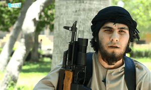 A screenshot from Unity Of The Mujahideen Of The Caucasus, a production by Furat Media. The Isis propaganda arm has overhauled the militant army's Russian-language output.