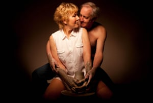Most wifely … Christine Hamilton and husband Neil recreate the potter's wheel scene from Ghost.